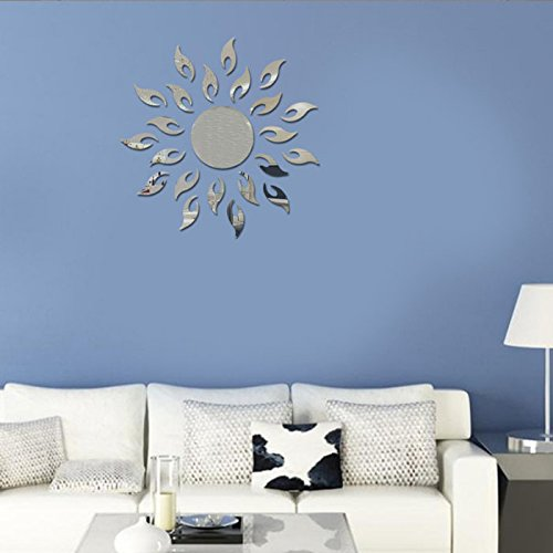 Naladoo Luxury 5D Sun flower Home Decor Bell Cool Mirrors Wall Stickers