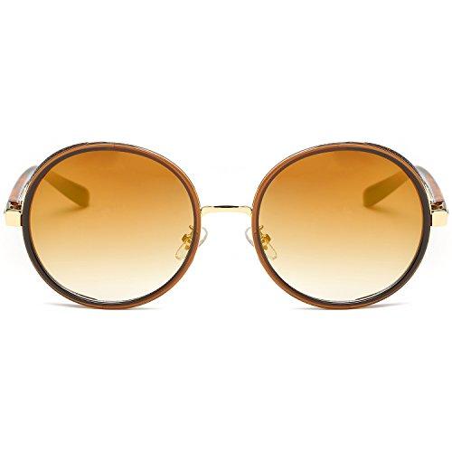 Frame Retro Brown gafas Lens sj2022 mujeres BlingBling Steampunk Sojos redondo C4 espejo sol Yellow de Classsic Gótico Aq6gxng