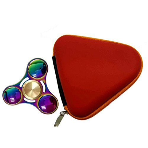 Price comparison product image Mchoice Gift for Fidget Hand Spinner Triangle Finger Toy Focus ADHD Autism Bag Box Carry Case Packet (Red)