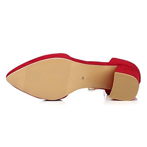 Grueso Zapatos con Sandalias de para Verano ZHZNVX Rojo de Profesionales Mujer Moda Cuentas Punta 45 Zapatillas qY101F7