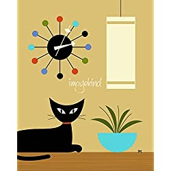 Wall Art Print entitled Mid Century Ball Clock by Donna Mibus | 16 x 20