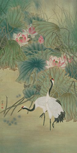 Paintings Crane Gallery (Two Red-crowned Cranes standing by Lutos Oil Reprodution Based on Traditional Chinese Realistic Painting. (Unframed and Unstretched).Painting Size 40x79 In.)