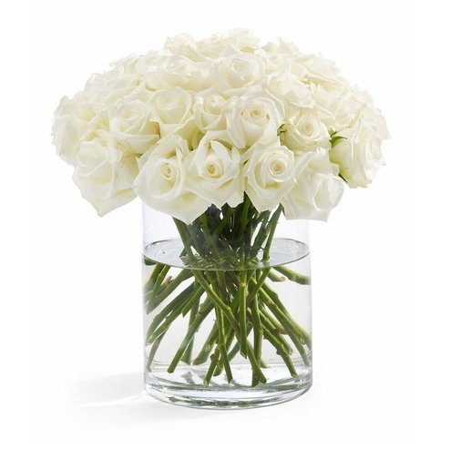 100 Fresh White Roses | 50 cm. long (20'') by FarmDirect