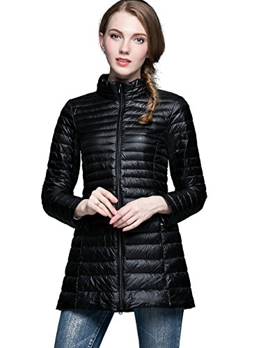 NIELLO Women's Ultra Light Packable Long Down Jacket Outwear Zip Down Coats  X-Large, Black