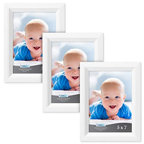 Icona Bay 5x7 Picture Frame (3 Pack, Aspen White Wood Finish), White Photo Frame 5 x 7, Composite Wood Frame for Walls or Tables, Set of 3 Cherished Memories - 3x5 Wood Frame