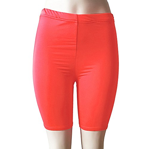 (FarJing Women Fashion High Elasticity Solid Color Leggings Gym Active Pants Cycling Shorts(XL,Watermelon Red)
