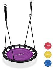 Relaxdays Nestschommel, ronde hangschommel, voor kinderen, verstelbare ronde schommel, Ø: 80cm, tot 100 kg, versch. kleuren