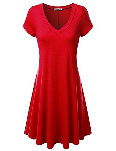 J.TOMSON Womens Short Sleeve V-neck Flared Dress RED L