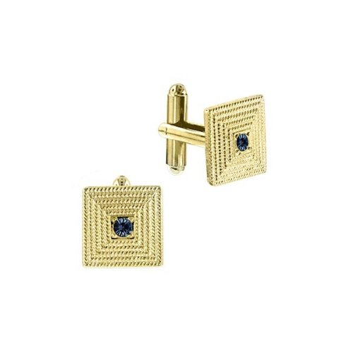 1928 Jewelry 14K Gold-Dipped Square Sapphire Blue Crystal Art Deco Cuff Links