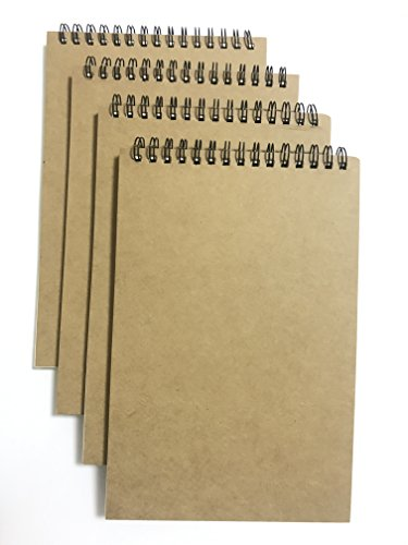(VEEPPO A5 Top Spiral Bound Notebooks Bulk Journals Spiral Steno Pads Blank/Lined Kraft Brown Cardboard Cover Thick Cream Writing Pad Sketchbook Scrapbook Album (Top Bound Lined White-Pack of 4))