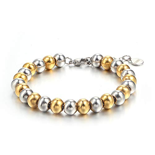Pullman Simple Stainless Steel Beads Bracelet Jewelry Gift Silver Gold Color Bracelet for Women