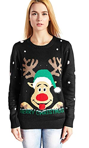 v28 Women's Christmas Reindeer Snowflakes Sweater Pullover (Tag S (US Size 6), Black-ReerFace) -