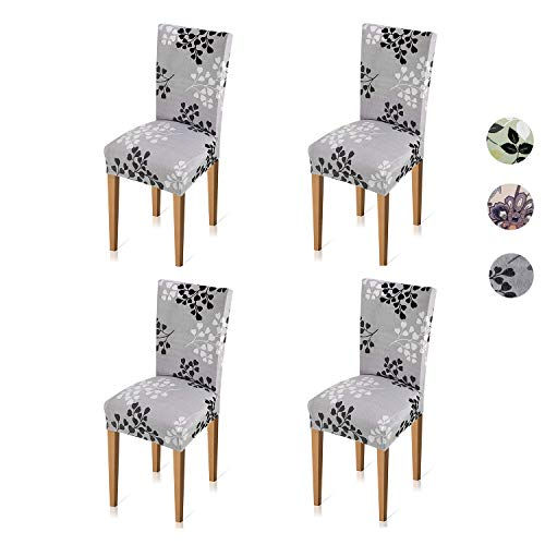 Xflyee Stretch Dining Room Chair Covers Jacquard Removable Washable Kitchen Parson Chair Slipcovers Set of 4 (A, 4 Pack) by Xflyee