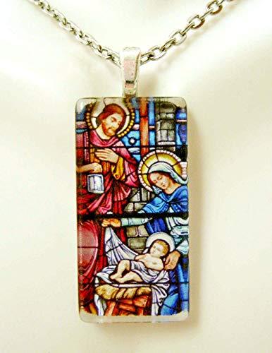 (Nativity stained glass window pendant - GP12-168)