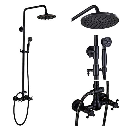 Exposed Shower System - Rozin Bathroom Shower Faucet Set 2 Knobs Mixing 8-inch Rainfall Shower Head + Hand Spray Oil Rubbed Bronze