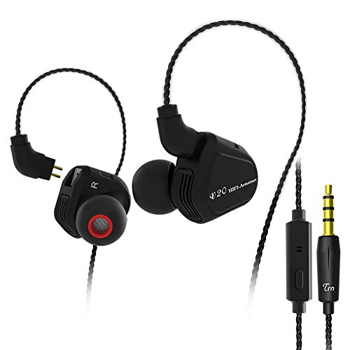 Dual Hybrid Driver Earbuds In-ear Headphone, TRN V20 HIFI Stereo Bass Earphone with Balanced Armature & Dynamic Driver Compatible for Iphone Android Smart Devices(Black With Mic) by KINBOOFI