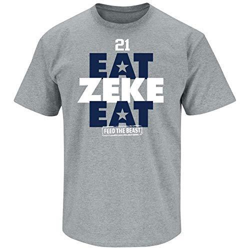 Nalie Sports Dallas Football Fans. Eat Zeke Eat T-Shirt (Sm-5X) (Youth Gray Short Sleeve, Medium)