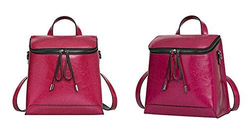 Otoño e Invierno XinMaoYuan bolsos de cuero Bolsos Bolso Bolso de viaje Correa de cera de aceite señoras Mochila,púrpura Violeta