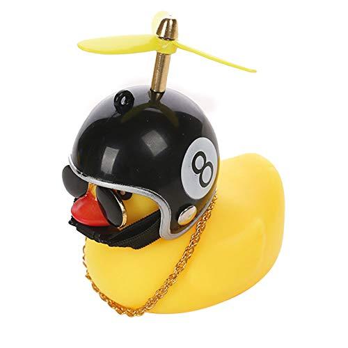 lefeindgdi Kleine gele eend auto decoratie, windbreaker eendje met helm auto-accessoires, Rubber eend speelgoed voor…