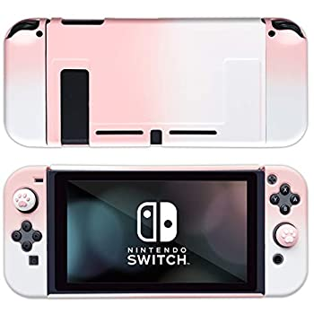 BelugaDesign Gradient Pastel Change Case Bundle   Suitable with Nintendo Change Laborious Snap On Shell   Free Paw Thumb Grips (Pink White)