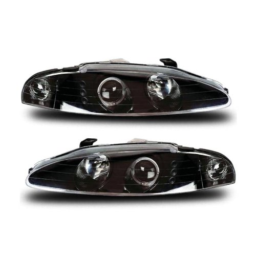 SPPC Projector Headlights G3 2 Halo(Only 1 Will Be On) Black With Led(No Amber) For Mitsubishi Eclipse - (Pair) Driver Left and Passenger Right Replacement Headlamp Assembly Set ()