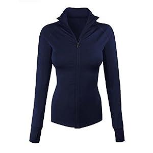 makeitmint Women's Comfy Zip Up Stretchy Work Out Track Jacket w/ Back Pocket LARGE YJZ0002_02NAVY