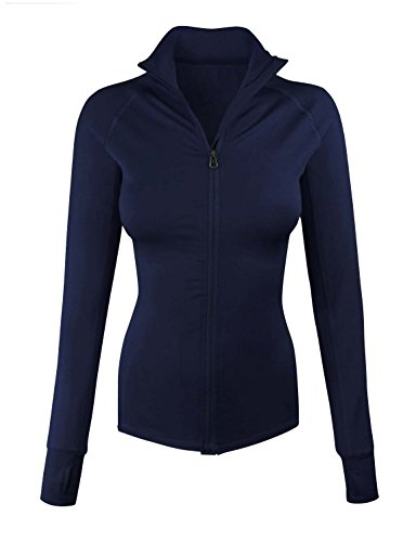 makeitmint Women's Comfy Zip Up Stretchy Work Out Track Jacket w/ Back Pocket LARGE YJZ0002_02NAVY