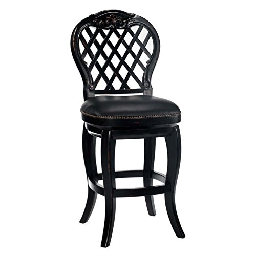 Hillsdale Furniture 61919 Braxton Wood Counter Stool with Distressed Detailing and Carved Detailing in Black