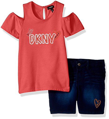 DKNY Little Girls' Fashion Top and Short Set, Triple Heart Sparkling Cosmo, 6 - Dkny Kids