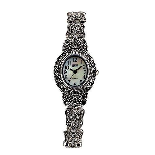 Eton Ladies Marcasite watch, Oval Case, MOP Dial, Antique Finish - (Antique Ladies Watch)