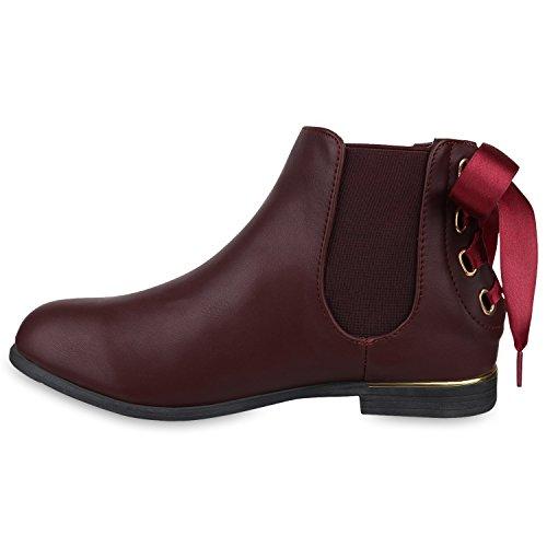 Stiefelparadies Damen Stiefeletten Chelsea Boots mit Blockabsatz Satinoptik Metallic Flandell Dunkelrot