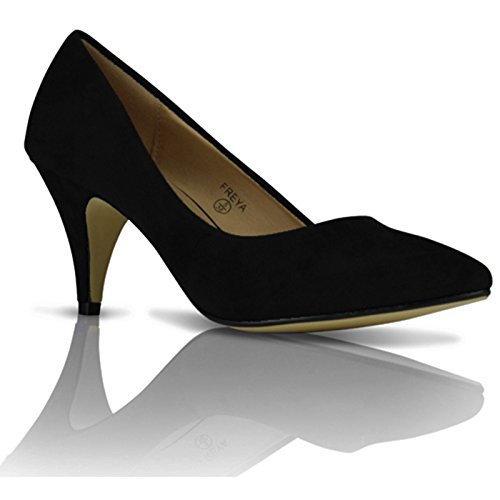 NEW WOMENS LADIES COURT SHOES PUMPS MID HEEL WORK CASUAL OFFICE SHOES SIZE 3-8 Black Suede GC144j