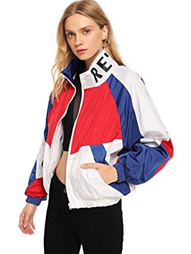 SweatyRocks Women's Lightweight Active Jacket Long Sleeve Color Block Letter Print Windbreaker White S