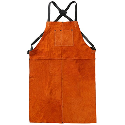 "LEASEEK Leather Welding Work Apron - Heat Resistant & Flame Resistant Bib Apron, Flame Retardant Heavy Duty BBQ Apron, Adjustable One Size Fit Most - 24"" X 36"",Brown (Tan)"