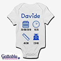 Body bimbo neonato bebè PERSONALIZZATO con NOME, DATA E ORA DI NASCITA, ALTEZZA E PESO DEL BEBE'! Divertente idea regalo per un Battesimo o ricordo di nascita!