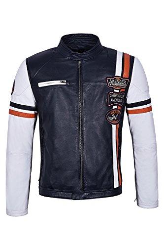Smart Range Neu Herren 7103 CHAMPION CLUB AVENGER SPEED Rennen Marine Streifen Biker Style Echtes Lederjacke
