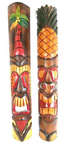 40 inch SET OF 2 HAND CARVED POLYNESIAN HAWAIIAN PALM TREE PINEAPPLE TIKI STYLE MASKS 3 ft TALL