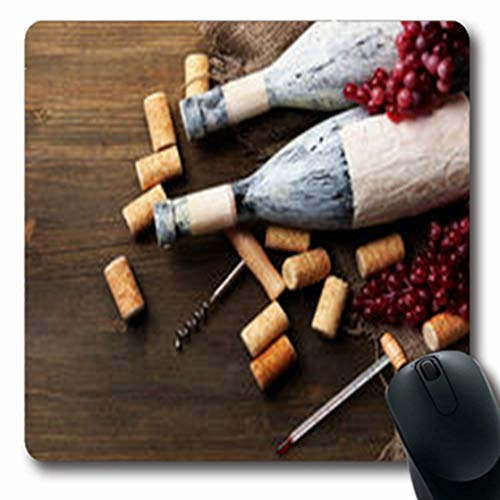 Pandarllin Mousepads Celebrate Old Bottles Wine Grapes Corks On Food Drink Aged Thermometer Oblong Shape 7.9 x 9.5 Inches Oblong Gaming Mouse Pad Non-Slip Rubber Mat (Corkscrew Thermometer)