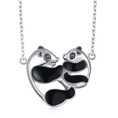 - Mother Birthday Gift 925 Sterling Silver Mom And Baby Pandas Pendant Necklace for Women, 18