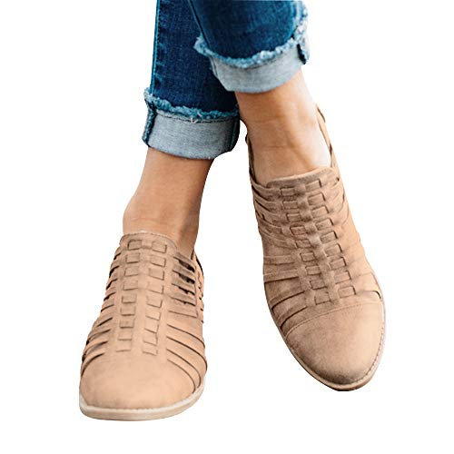 Out On Slip Casual Short Low Boots Ankle Heel Women's Cut Khaki Hunleathy 1XARxR