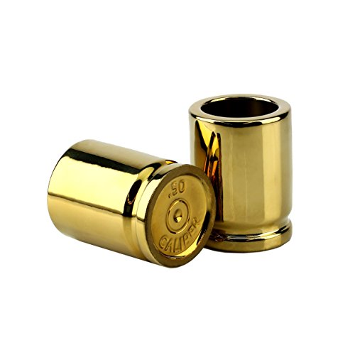 Barbuzzo 50 Caliber Shot Glass - Set of 2 Shot Glasses Shaped like Bullet Casings - Step up to the Bar, Line 'Em Up, and Take Your Best Shot - (Shotgun Shell Shot Glasses)