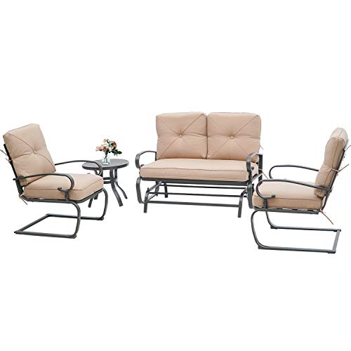 Incbruce 4Pcs Outdoor Patio Furniture Conversation Sets (Loveseat, Bistro Table, 2 Spring Chair) – Swing Glider Rocking Patio Bench and Spring Metal Lounge Chairs Sets with Cushions (Brown)