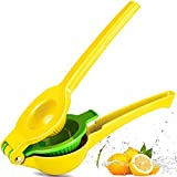 Chefbar Top Rated Premium Quality Metal Lemon Lime Squeezer - Manual Citrus Press Juicer FreshForce Citrus Juicer Aluminum Lime Squeezer Yellow