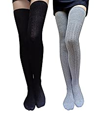 American Trends Women Solid Colors Flexible Lengthened Cotton Thigh High Socks