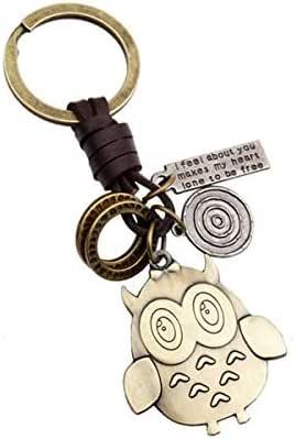 ريترو إبداعي ريترو مصنوع يدويًا من خليط معدني من الجلد الطبيعي بلون أنيق سلسلة مفاتيح مع حلقة مفاتيح هدية للنساء والرجال