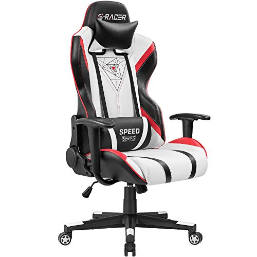 Homall Gaming Racing Office High Back PU Leather Computer Desk Executive and Ergonomic Swivel Chair with Headrest (Red), - Office Black Racing Chair
