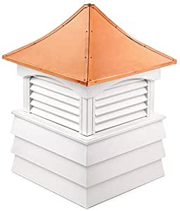 """81"""" Handcrafted """"Hyde Park"""" Copper Roof Vinyl Cupola"""