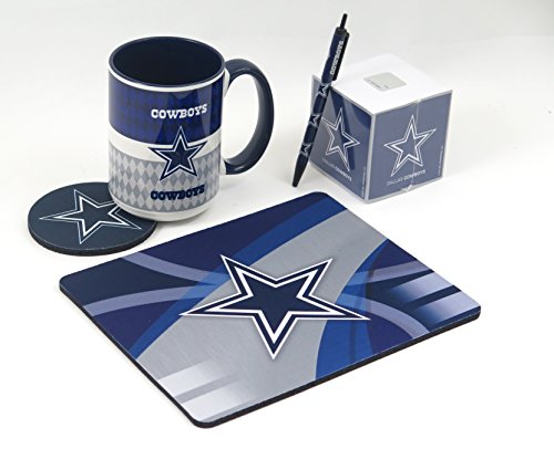 (Dallas Cowboys Work Station, Computer, Set. Includes Large Coffee Mug, Neoprene Coaster and Mouse pad, Retract The bullpen and a 1000 Sheet Paper Cube. 5 Peace)