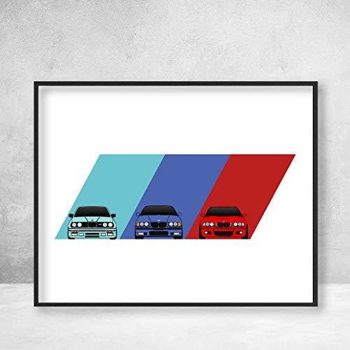 BMW M3 Poster Print Wall Art Featuring BMW M3 Car Models Generations: E30 E36 E46 (Bmw Cars Art)