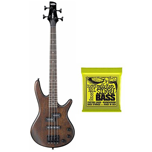 Ibanez GSRM20B Mikro 3/4 Size 4-String Electric Bass Guitar (Walnut Brown) Includes Extra Pair Of Ernie Ball Bass Strings